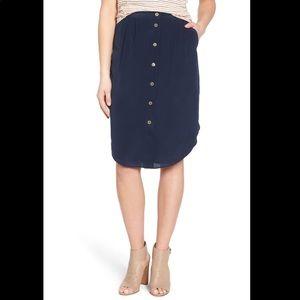 Madewell Island Button Front Silk Skirt